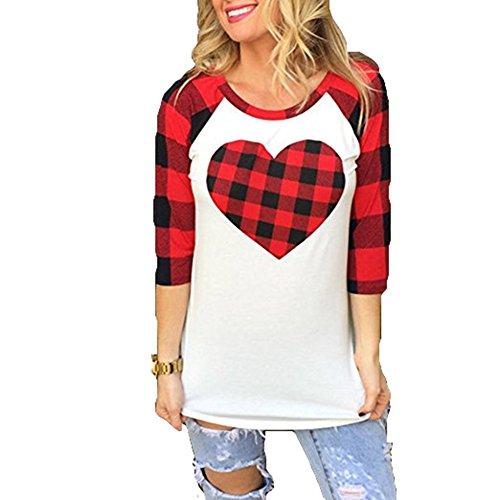 Juleya T-Shirt Femmes Chemises à Carreaux Manches Longue O Cou Tops Coeur Impression Haut Blouses Élégant Slim Fit Top Couleur Contrastée Chemise Doux Confortable Rouge