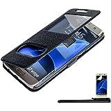 4in1 Smart Housse pour - Samsung Galaxy S7 Edge - Flip Case étui de protection / Pochette téléphone Fonction chevalet réglable, NOIR+ 1x Stylet + 1x Film de protection