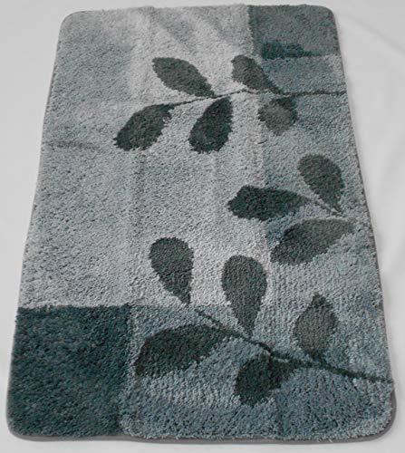 MB Warenhandel24 Badematte Badvorleger Badteppich Designer Grafik oder Farbverlauf Uni einfarbig 4 Größen 2 Varianten (Teppich Leaves Grau, ca. 60x100 cm)