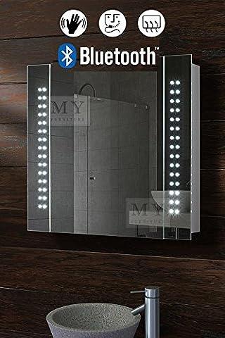 MY-Furniture - Armoire de toilette miroir avec bluetooth, éclairage 60 LEDs, capteur de mouvement, sytème de désembuage et prise rasoir - L/650 x H:600 mm -