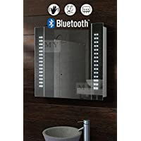 MY-Furniture 60 LED Illuminated Bluetooth Bathroom Cabinet Mirror with Sensor, Demister and Shaver - 600mm(H) x 650mm(W -GALACTIC)