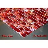 Fliesen Mosaik Mosaikfliese Bad Glas perlmutt rot Quadrat Mix Küche 4mm Neu #174