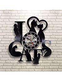 f9b8126dbb71 mebeaty I Love Cat 7 Reloj de Pared de Disco de Vinilo Hueco Retro Creativo  pequeño