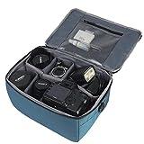 Partición A Prueba de Golpes Impermeable Cámara Acolchada Bolsas Caso Protección Insertar DSLR SLR con Top Asa y Bandolera Ajustable para Lentes Shot o Luz de Flash (azul)