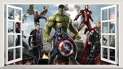 Marvel Avengers Superheld V301selbstklebend 3D Magic Wandtattoo Fenster Poster Wall Art Größe 1000mm breit x 600mm tief (groß) (Marvel Avengers-fenster Aufkleber)