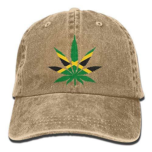 Sireua Unisex Washed Retro Denim Hats Marijuana Leaf Jamaica Flag Truck Driver Hat Novelty Adjustable Lightweight Breathable Baseball Cap Snapback Trucker Hat Basecap Snapback Outdoor Baseball Kappe Cts-monitor