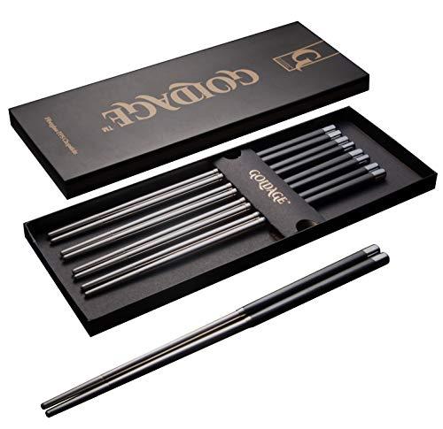Goldage 5-Pairs Stainless Steel Fiberglass Dishwasher-Safe Chopsticks... China Teller