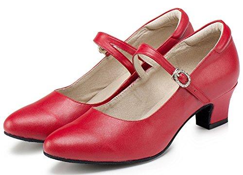 Honeystore 2016 Neuheiten Frauen Echtleder Heels Absatzschuhe Moderne Tanzschuhe Rot 39 CN - 2