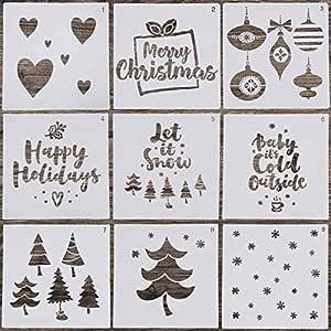 spruzzo decorazione artistica pittura 12 stencil natalizi riutilizzabili per disegno vacanze pittura Toyandona