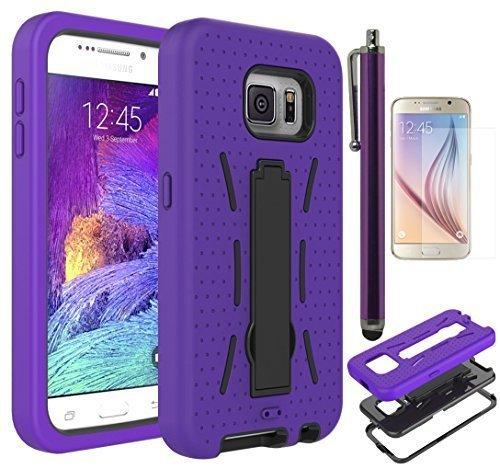 Galaxy S6Telefon Fall, Bastex Heavy Duty Hybrid Armor Case, Lila Silikon Schutzhülle mit Schwarz Hard Case mit Ständer für Samsung Galaxy S6g920includes Displayschutzfolie und Stylus (Lila Mobile Boost Telefone)