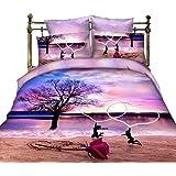 Ailiebhaus Queen Size Baumwolle 3D Bettwäsche 4-teilig Bettbezug,Strand