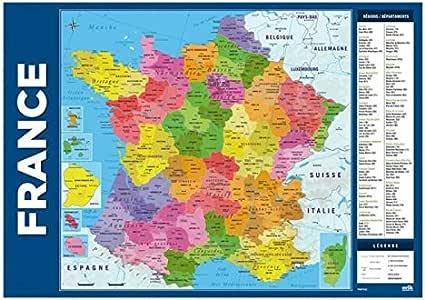 Carte De La France : Sous Main Rigide/Avec Régions, Départements Et Villes Imprimés (Dimension ...