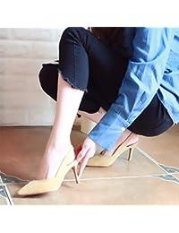 Xue Qiqi Chaussures de mariage rouge fashion chaussures femme très bien avec l'extrémité de la partie pour les chaussures à haut talon chaussures femme unique bouche peu profondes,36, noir