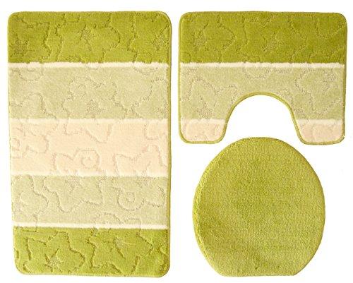 Orion Badgarnitur 3 tlg. Set 50x80 cm kiwi grün beige WC Vorleger mit Ausschnitt für Stand-WC