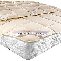 PROCAVE Protector de colchón acolchado de lana virgen,Funda transpirable para cama, Cubrecolchón con 4 gomas angulares 90x200 cm