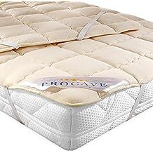 PROCAVE Protector de colchón acolchado de lana virgen,Funda transpirable para cama, Cubrecolchón con
