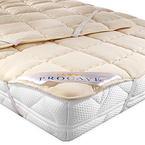 PROCAVE weiches Unterbett aus Schurwolle, atmungsaktiver Matratzen-Schoner, Matratzenbezug mit 4 Eckgummis,Matratzen-Auflage 150x200 cm