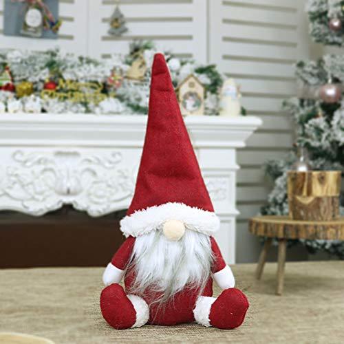LQMILK Bambola di Babbo Natale, Gnomo di Natale, Regalo di Compleanno Fatto a Mano di Bambola di Stoffa di Babbo Natale, Gnomo Svedese Fatto a Mano di Babbo Natale Seduto Seduto Bambola di Peluch
