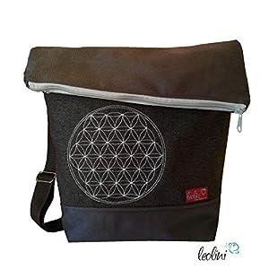 Foldover Tasche Blume des Lebens Stickerei handmade Foldovertasche