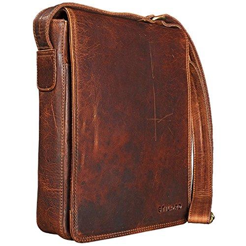 STILORD 'Joris' Bolso de Mensajero Mediano de Piel Vintage para Tablet de 10,1 Pulgadas Bolso Bandolera o Bolsa de Hombro de Cuero para Hombres y Mujeres, Color:Kara - Cognac