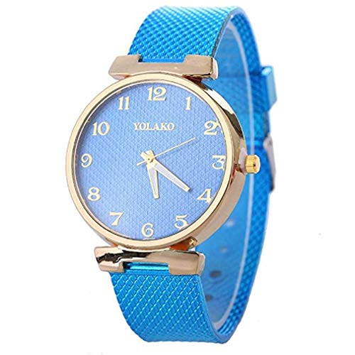 Fittingran orologio orologi da donna donna in vendita clearance ladies 'ladies teen girls fashion dress orologio da polso al quarzo con cinturino in pelle orologi casual al quarzo (blu)