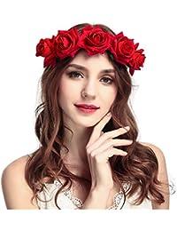 Amazon Fr Couronne Fleur Cheveux Rouge Bandeaux Accessoires
