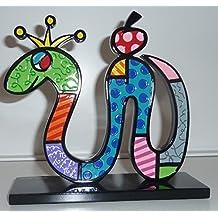 ROMERO BRITTO Skulptur - Schlane mit Apfel - Pop Art Kunst aus Miami