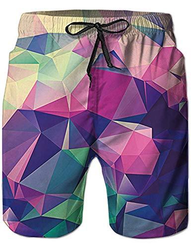 Rave on Friday Jugendliche Badeshorts, Neuheit Farbiges Dreieck Muster Freizeit Kurze Sporthose Jogginghose Badeshorts XL
