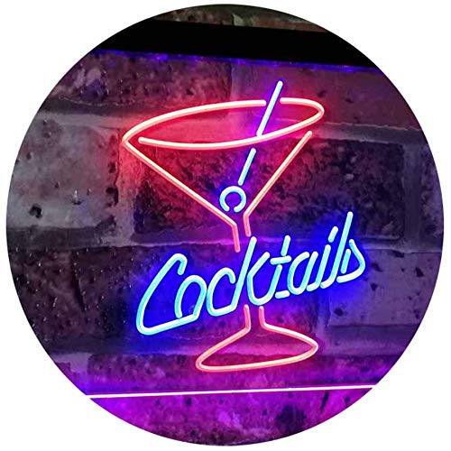 ADV PRO Cocktails Glass Bar Club Beer Décor Dual Color LED Enseigne Lumineuse Neon Sign Rouge et Bleu 400 x 300mm st6s43-i2112-rb
