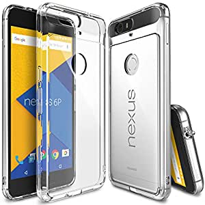 Nexus 6P Case, Ringke [Fusion] Clear PC Back TPU Bumper w/ Screen Protector [Drop Protection/Shock Absorption Technology][Attached Dust Cap] For Huawei Nexus 6P - Clear (Clear)