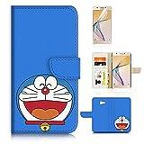 Funda con tapa para Samsung J7 Prime SM-G610 y protector de pantalla. A20319 Doraemon - Dibujos animados