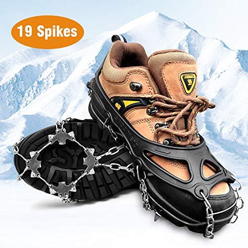 HWeggo Steigeisen, Silikon Schneeketten Steigeisen mit Edelstahl Anti Rutsch Spikes für High Altitude Wandern EIS Schnee - 19 Zähne Edelstahl Größe L (40-45 EU)