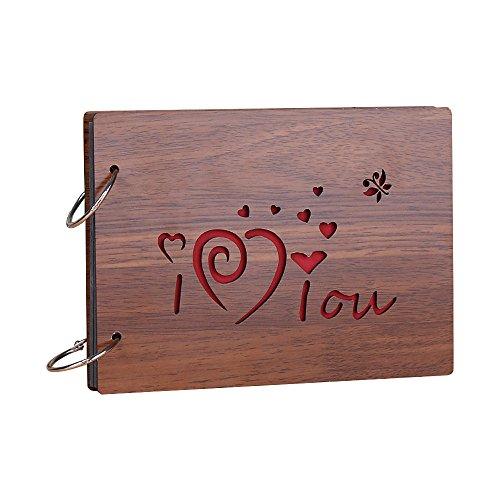 Jia HU vintage Wood DIY Autocollant Photo Album photo anniversaire de mariage Scrapbooking albums de stockage de mémoire livre Cadeau I love you