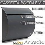 CASSETTA POSTALE PER LETTERE POSTA V17 IN METALLO COLORE ANTRACITE DA ESTERNO IMPERMEABILE PROTEGGE LA POSTA NUOVA VERSIONE DESING + 2 CHIAVI SICUREZZA