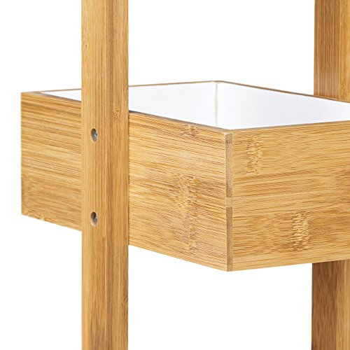 Relaxdays Hbt 885 X 255 X 185 Cm Praktisches Badezimmerregal Als Ablageständer Mit 4 Körben Butler Korbregal Aus Natürlichem Holz Für Badezimmer