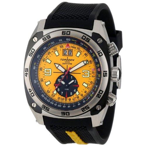 Torgoen - T07302- Montre d'aviateur Homme - Quartz chronographe - Bracelet polyurethane noir