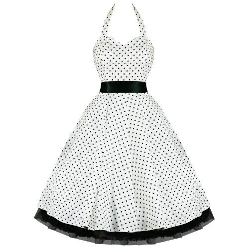 Hearts And Roses London Pois Années 50 Rockabilly Pinup Fête Robe Swing Bal De Promo avec exclusivité Starlet Sac Fourre-tout Blanc avec petits pois noirs