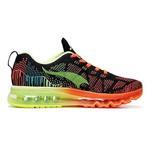 Onemix Air Running Sneakers Hommes Sport Running Sneaker Fluorescent Vert Noir Orange