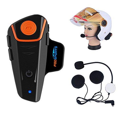 Fodsports BT-S2 Moto Intercom Bluetooth Headsets Impermeable Auriculares Intercomunicador de Casco de Motocicleta con 1000m, GPS, Radio FM, Reproductor de MP3, Mano Libre, (1 Pieza con Cable Duro)