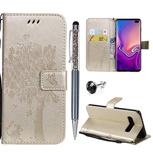 WaackGG S10+ Hülle Handyhülle FlipCase Kompatible mit Samsung Galaxy S10+ Tasche Handytasche Leder Wallet Schutzhülle Magnetisch Kartenfach Ständer Anti-Fall Etui Großer ()