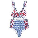 Igemy Damen Badeanzug mit Hohem Bund und Sexy Nähten, Digital Bedruckter Rückengurt Bikini Set
