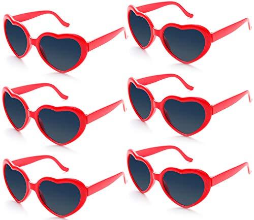 Fsmiling 6 Stück Neon Farbige Herz Sonnenbrille für Kinder Mädchen Damen Party und Festival ( Rot Brille)