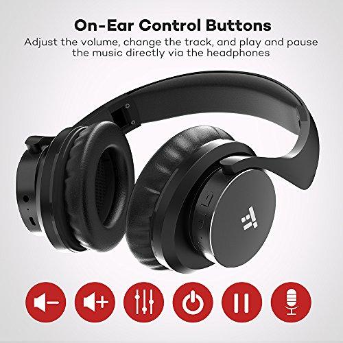 TaoTronics Bluetooth Kopfhörer Over Ear Headset 25 Stunden Spielzeit, Einstellbar mit CVC 6.0 Mikro, Zusammenklappbares Design mit on-Ear-Steuerung - 6