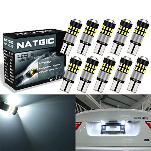 NGCAT 10pcs T10 Ampoule LED 300LM 6000K Extrêmement Lumineux 3014 30SMD Jeu de puces Lentille CanBus Erro Gratuit 168 2825 W5W Lampe de rechange à LED pour avant de voiture