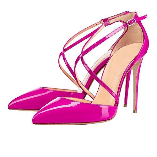 EKS Damen Ankle Strap 10cm High Heels Spitze Pumps Damenschuhe EU 35-46 Rose