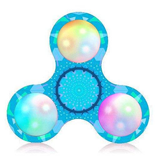 Preisvergleich Produktbild Saingace Gericht Muster LED Licht Fidget Hand Spinner Stress Relief Manipulative Spiel Spielzeug