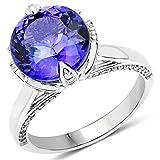 Ring 14 Karat (585) Weißgold 5,73 Karat echter Tansanit und weißer Diamant