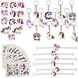 BUZIFU Kit de 40 Pcs Objet de Licorne Multicolore 12 Bagues 12 Porte-clés 6...