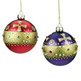 Set of 2 Red & Purple Glass Christmas Baubles with Gold Jewelled Band (8cm)