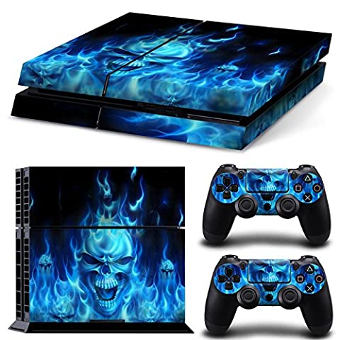 Morbuy PS4 Vinyl Skin Full Body Cover Sticker Decal For Sony Playstation 4 Console & 2 Dualshock Controller Skins (Skull Fire